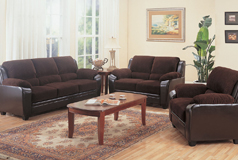 Monika 3pc SetSofa, Loveseat, Chairin Brown Corduroy/Viny - Click for more details