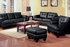 Samuel 3pc SetSofa, Loveseat, Chairin Black Bonded Leather - Click for more details