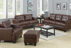 Samuel 3pc SetSofa, Loveseat, Chairin Brown Bonded Leather - Click for more details