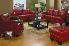 Samuel 3pc SetSofa, Loveseat, Chairin Red Bonded Leather - Click for more details