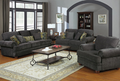 Colton 3pc SetSofa, Loveseat, Chairin Dark Grey Chenille - Click for more details
