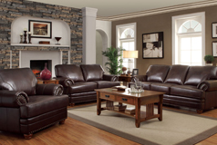 Colton 3 Piece SetSofa, Loveseat, Chairin Brown Bonded Leather - Click for more details