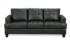 Samuel Bonded Leather Sofa in Black - Click for more details