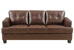 Samuel Bonded Leather Sofa in Brown - Click for more details