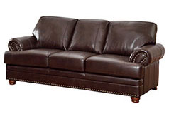 Colton Bonded Leather Sofa in Brown - Click for more details
