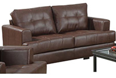 Samuel Bonded Leather Loveseat in Brown - Click for more details