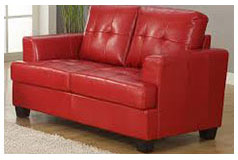 Samuel Bonded Leather Loveseat in Red - Click for more details