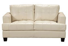 Samuel Bonded Leather Loveseat in Cream - Click for more details