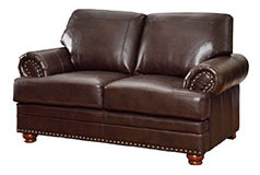 Colton Bonded Leather Loveseat in Brown - Click for more details
