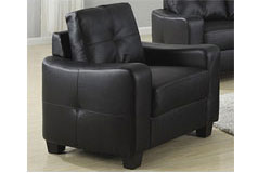 Samuel Bonded Leather Chair in Black - Click for more details