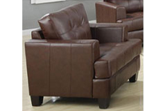 Samuel Bonded Leather Chair in Brown - Click for more details