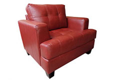 Samuel Bonded Leather Chair in Red - Click for more details