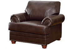 Colton Bonded Leather Chair in Brown - Click for more details
