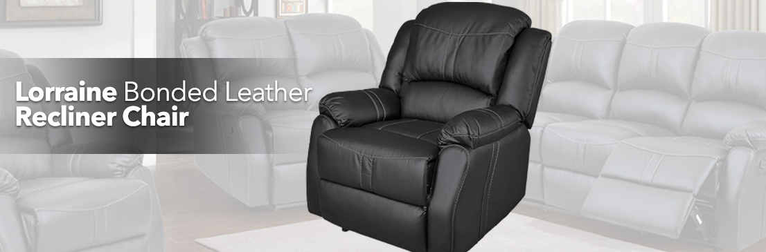 Lorraine Recliner Chair - Black Bonded Leather