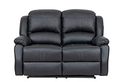 Lorraine Recliner Loveseat in Black Bonded Leather