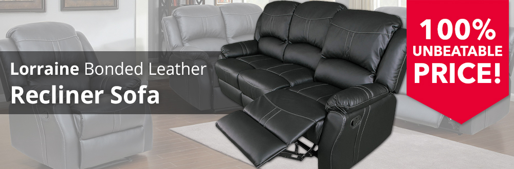 Lorraine Recliner Sofa - Black Bonded Leather