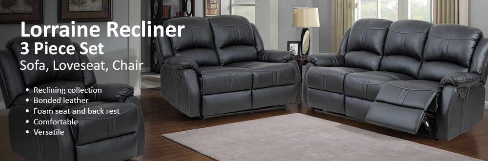 Awesome Lorraine Black Recliner 3 Piece Living Room Set   S/L/C