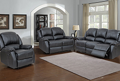 Lorraine Recliner 3pc Set Black Bonded Leather - Click for more details