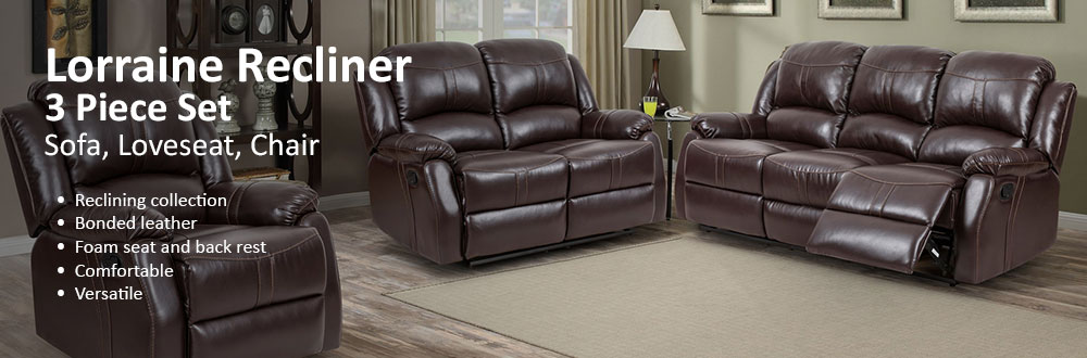 Captivating Lorraine Brown Recliner 3 Piece Living Room Set   S/L/C