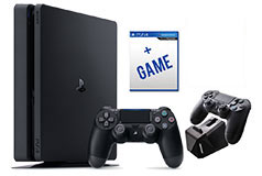 PlayStation 4 Slim Bundle(1TB/2 Controllers/Charge Block/Game) - Click for more details