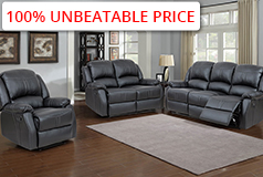 Lorraine Recliner 3pc Set Sofa, Loveseat, ChairBlack Bonded Leather - Click for more details