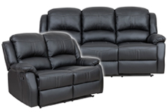 Lorraine Recliner Living Room SetSofa, Loveseat Black Bonded Leather - Click for more details