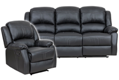 Lorraine Recliner Living Room SetSofa, ChairBlack Bonded Leather - Click for more details