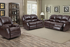 Lorraine Recliner 3pc SetSofa, Loveseat, ChairBrown Bonded Leather - Click for more details