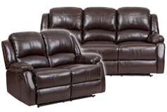 Lorraine Recliner Living Room Set Sofa, Loveseat Brown Bonded Leather  - Click for more details