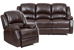 Lorraine Recliner Living Room Set Sofa, Chair Brown Bonded Leather  - Click for more details