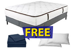 "11"" King Size Euro-Top Dreamflair Mattress Set FREE Navy Bed Sheets & 2 Pillows - Click for more details"