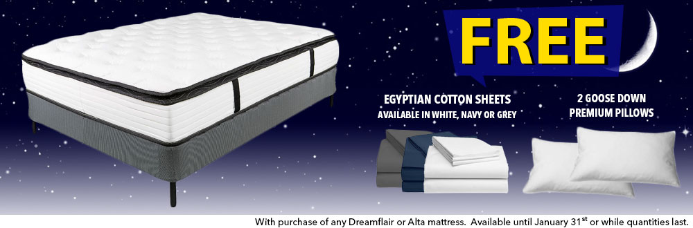 "13"" Pillow-Top King Dreamflair Mattress Set + FREE Navy Sheets & 2 pillows"