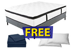 "13"" Queen Size Pillow-Top Plush Dreamflair Mattress Set FREE Navy Bed Sheets & 2 Pillows - Click for more details"
