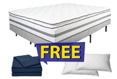 "13"" Queen Size Pillow-Top Plush Alta Mattress Set FREE Navy Bed Sheets & 2 Pillows - Click for more details"