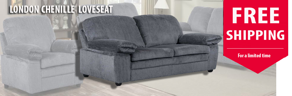 London Loveseat - Grey Chenille