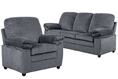 London Living Room Set  Sofa, Chairin Grey Chenille - Click for more details