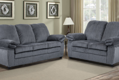 London Living Room Set Sofa, Loveseat In Grey Chenille   Click For More  Details