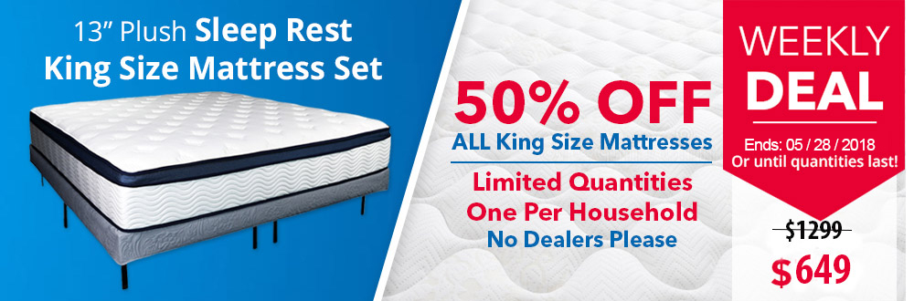 "Sleep Rest 13"" Comfort-Top Plush King Mattress Set"
