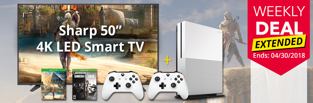 "Sharp 50"" 4K Smart TV & Xbox One S 1TB Assassin's Creed Bundle"