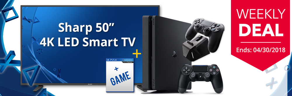 "Sharp 50"" 4K UHD Smart TV & PS4 Slim 1TB Bundle"