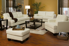 Samuel 3pc SetSofa, Loveseat, Chairin Cream Bonded Leater - Click for more details