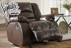 Ashley Levelland Rocker Recliner Club Chair  in Genuine Leather 17001 - Click for more details