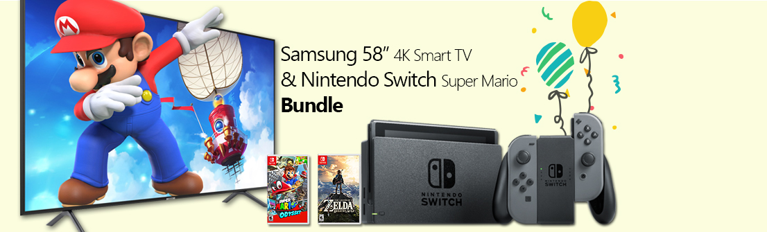 "Samsung 58"" 4K UHD LED Smart TV & Nintendo Switch Super Mario Bundle"