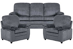 London 3pc SetSofa, Chair, Chair in Grey Chenille  - Click for more details