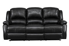 Lorraine Recliner Sofa  in Black Bonded Leather - Click for more details