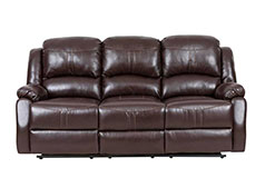 Lorraine Recliner Sofa  in Brown Bonded Leather - Click for more details
