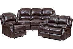 Lorraine Recliner Living Room Set Includes: Sofa, Loveseat & Chair Brown Bonded Leather  - Click for more details