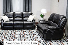 Lorraine Bel-Aire Deluxe  Reclining Living Room Set in Ebony  Includes: Sofa & Loveseat - Click for more details