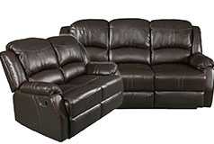 Lorraine Recliner Living Room Set Sofa, Loveseat Mocha Bonded Leather - Click for more details