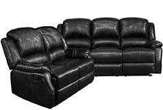 Lorraine Recliner Living Room Set Sofa, Loveseat  Ebony Bonded Leather - Click for more details